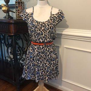 Mimi Chica Animal Print Cold Shoulder Summer Dress